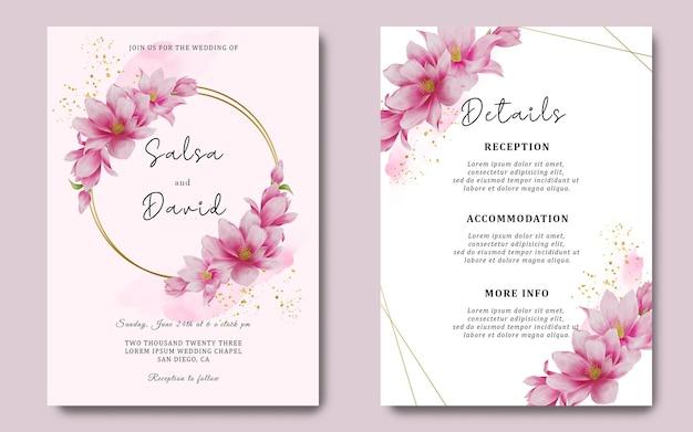 Bruiloft uitnodigingskaartsjabloon en detailkaart met aquarel kersenbloesem decoratie