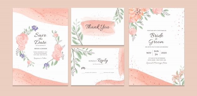 Bruiloft uitnodigingskaartsjabloon met aquarel bloemen frame decoraties