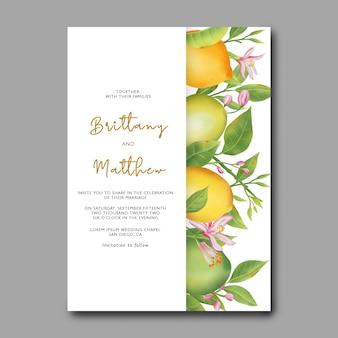 Bruiloft uitnodigingskaartsjabloon met aquarel citroen fruit