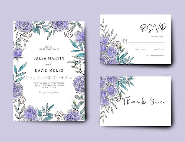 Bruiloft uitnodigingskaartsjabloon met aquarel paarse bloemen