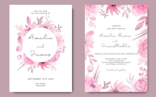 Bruiloft uitnodigingskaartsjabloon met aquarel roze bloemen