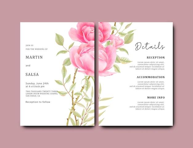 Bruiloft uitnodigingskaartsjabloon met aquarel roze roze bloem achtergrond