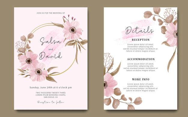 Bruiloft uitnodigingskaartsjabloon met bloemendecoratie en aquarelborsteleffect