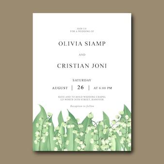 Bruiloft uitnodigingskaartsjabloon met lelietje-van-dalen