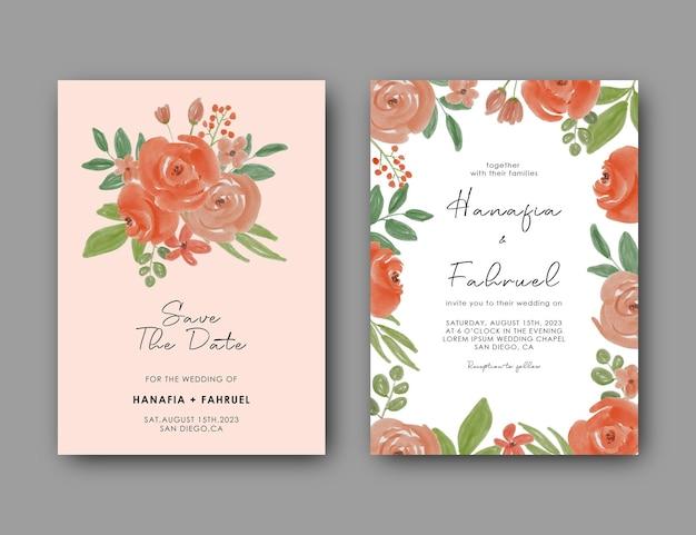 Bruiloft uitnodigingskaartsjabloon met prachtige aquarel bloemdecoratie