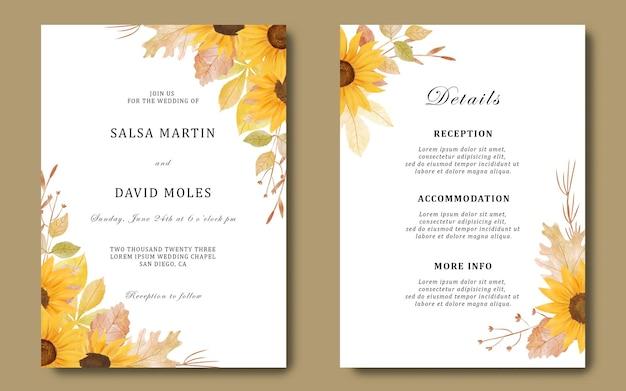 Bruiloft uitnodigingssjabloon en detailkaart met aquarel zonnebloemboeket