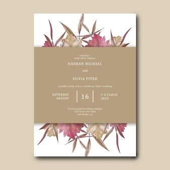 Bruiloft uitnodigingssjabloon met aquarel gedroogde bladeren decoratie