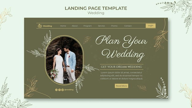 Bruiloft websjabloon met foto