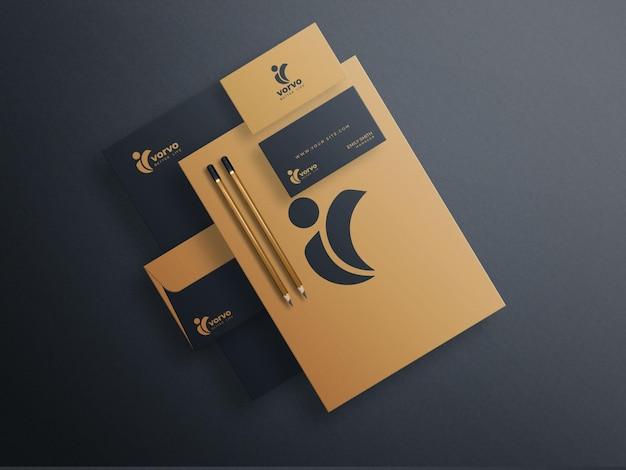 Bruin en zwart briefpapier mockup set