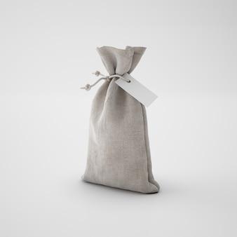 Bruine zak met papieren label