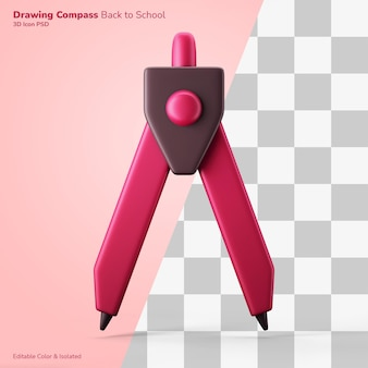 Brújula de dibujo técnico icono de renderizado 3d color editable aislado