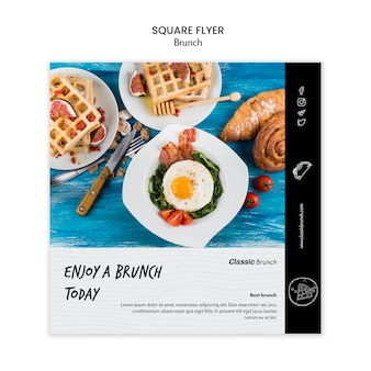 Brunch concept vierkante sjabloon folder