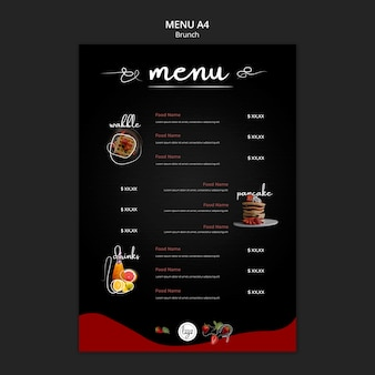 Brunch menu cibo e bevande menu