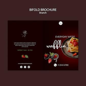 Brunch restaurant ontwerp tweevoudige brochure sjabloon