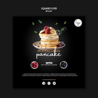 Brunch restaurant ontwerp vierkante flyer