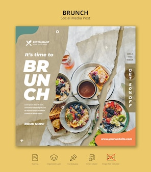 Brunch restaurant sociale media instagram postsjabloon