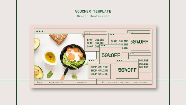 Brunch restaurant voucher sjabloon