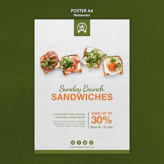 Brunch sandwiches restaurant poster afdruksjabloon