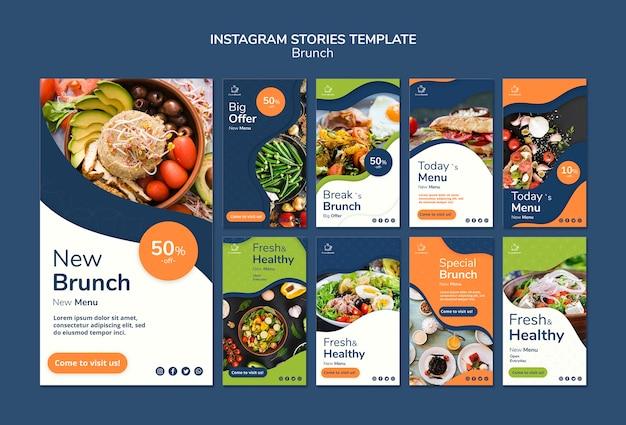 Brunch thema voor instagram verhalen sjabloon