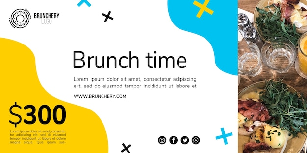 Brunch tijd voucher sjabloon