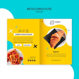 Brunch tweevoudige brochure sjabloon
