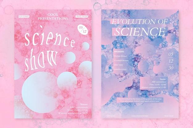 Bubble art science template psd event esthetische advertentie posters dual set