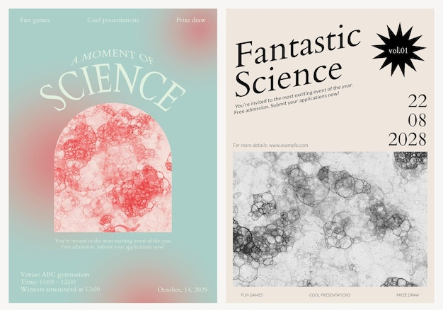 Bubble art science template psd evento estético anuncios carteles doble set