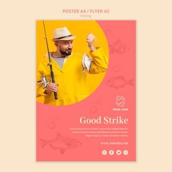 Buena huelga y plantilla de póster de pesca