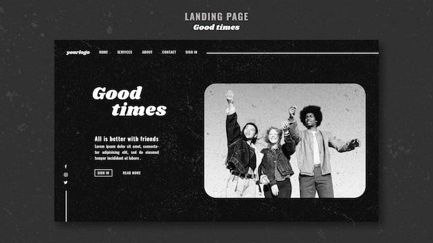 Buenos momentos amigos al aire libre landing page