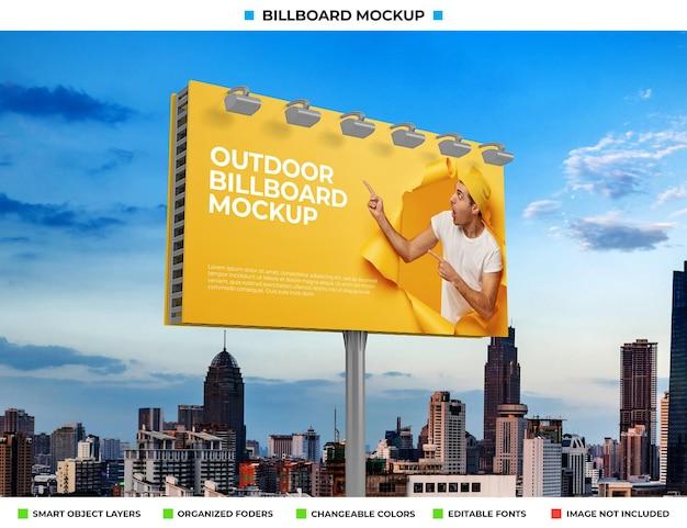 Buiten billboard poster mockup ontwerp
