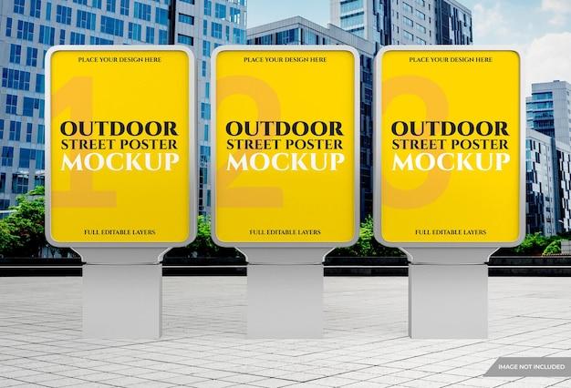 Buiten stadslicht reclame poster mockup