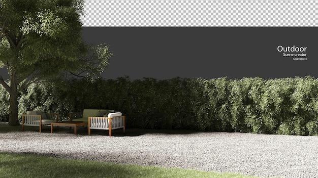 Buitenmeubels op grind in 3d-rendering