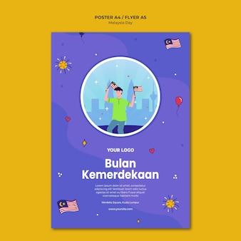Bulan kemerdekaan maleisische onafhankelijkheid poster sjabloon