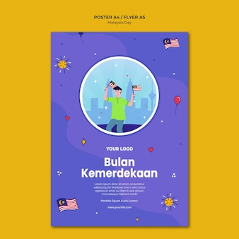 Bulan kemerdekaan modello di poster di indipendenza malese