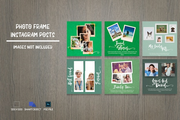 Bundle dei post su instagram dei social media photo frame