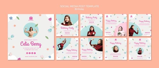 Buon compleanno con post di social media giovane donna