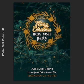 Buon natale e felice anno nuovo 2019 foto mockup e modello di invito o flyer