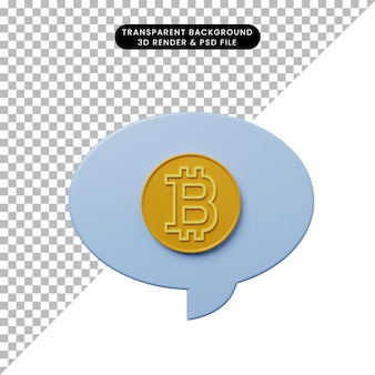 Burbuja de chat de ilustración 3d con bitcoin