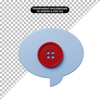 Burbuja de chat de ilustración 3d con botón