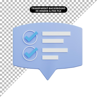 Burbuja de chat de ilustración 3d con información de lista de verificación