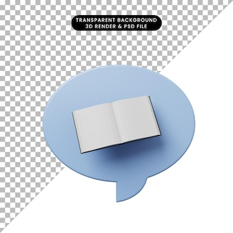 Burbuja de chat de ilustración 3d con libro