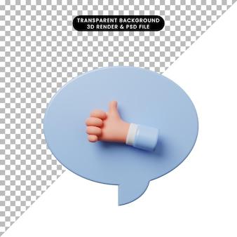 Burbuja de chat de ilustración 3d con la mano pulgares arriba