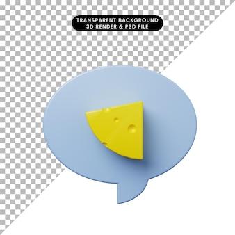 Burbuja de chat de ilustración 3d con queso