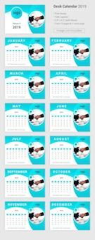 Bureaukalender 2019 in psd-ontwerp