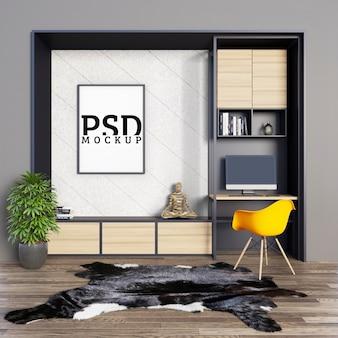 Bureaus met decoratieve planken en fotolijst