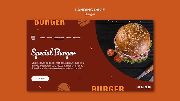 Burger-bestemmingspagina-sjabloon