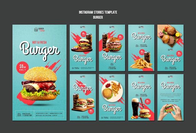 Burger concept instagram verhalen sjabloon