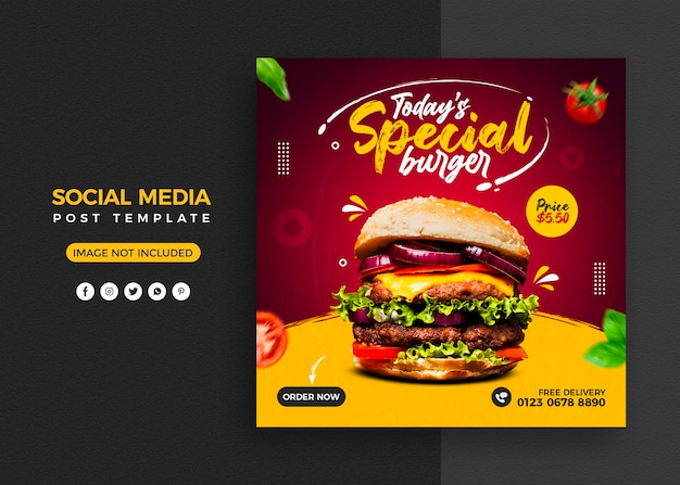 Burger food menu en restaurant social media post en instagram-bannermalplaatje