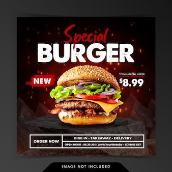 Burger grill-menu op zwarte houtskoolsteen promotie sociale media sjabloon voor spandoek