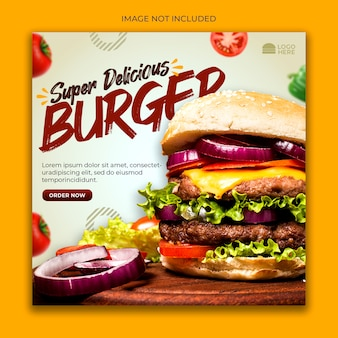 Burger menu promotie sociale media-sjabloon voor spandoek